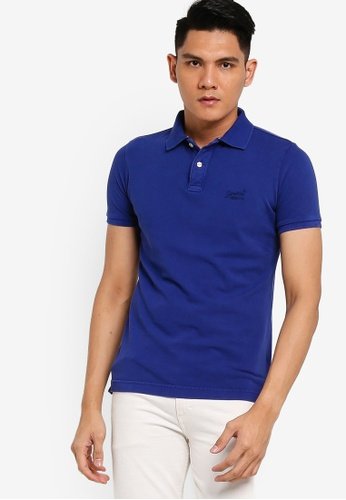 SUPERDRY navy Vintage Destroyed Short Sleeve Pique Polo 7CE7EAADE97B89GS_1