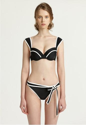 Halo black Colour Block Swimsuit Bikini 7A056USD4525F4GS_1