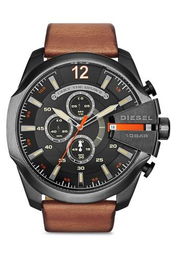 Diesel brown Diesel Mega Chief Light Brown Leather Watch DZ4343 DI095AC84NLBMY_1