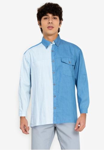 ZALORA BASICS blue Stripe Panel Shirt 0A51EAA27D69B9GS_1