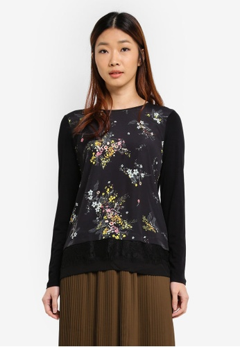 WAREHOUSE black Spring Floral Woven Front Top 4051DAA1D1C130GS_1