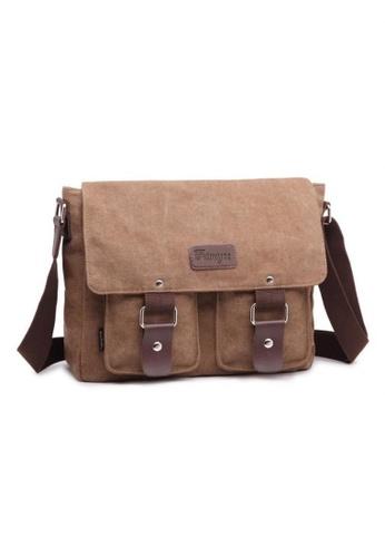 A FRENZ brown Vintage Fashion Canvas Satchel Messenger Bag Coffee 9A605ACAF2E1ACGS_1