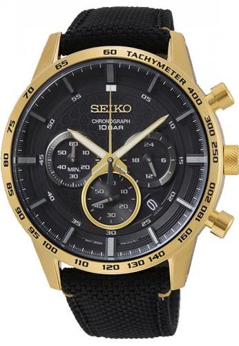 Seiko black and gold Seiko Jam Tangan Chronograph SSB364P1 Nylon Strap 5E80FAC5CC18BAGS_1