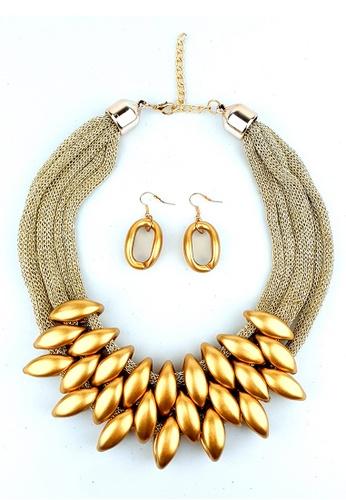 BELLE LIZ gold Gold Jewellery Set Bohemian Earrings Necklace 7CD90AC1489147GS_1