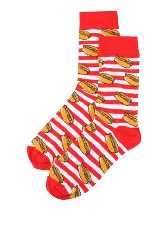 Topman red Red 'Tourist Hot Dog' Socks 211D7AA6B9A945GS_1