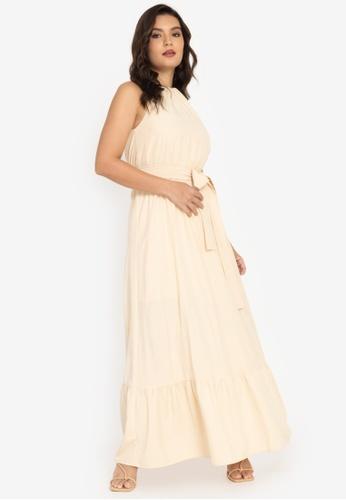 ZALORA BASICS beige Halter Neck Tiered Dress C5494AAA38EC04GS_1