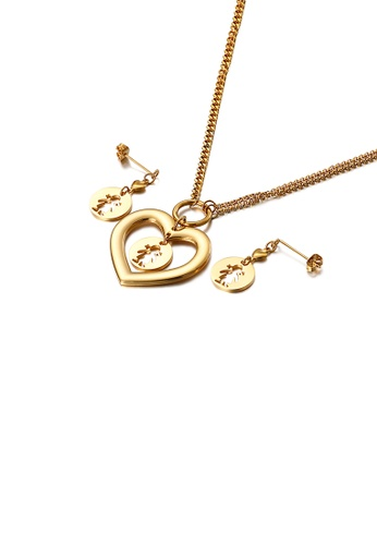Glamorousky silver Simple and Fashion Plated Gold Hollow Girl Heart-shaped 316L Stainless Steel Necklace and Earrings Set 0FA3CACE0565F0GS_1