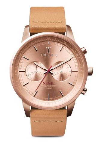 Rose Nevesprit 雨傘il 有機皮革圓框手錶, 錶類, 皮革錶帶