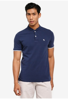 1eaf31a4d Abercrombie   Fitch blue and navy Mandarin Polo Shirt 67B0CAAF4A540BGS 1