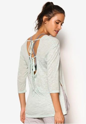 背部繫帶寬鬆七分袖運動TEE,esprit part time 服飾, 服飾