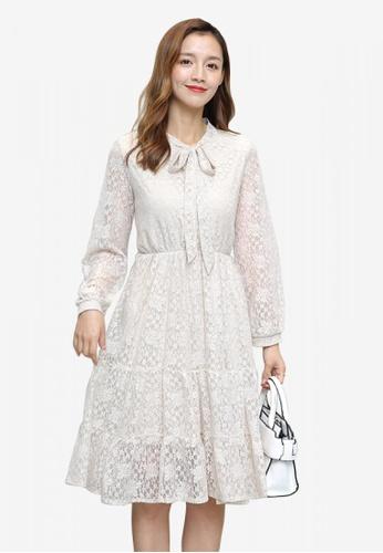 hk-ehunter white Long Sleeves Tie Neckline Flare Dress 8FA31AAC669D8CGS_1