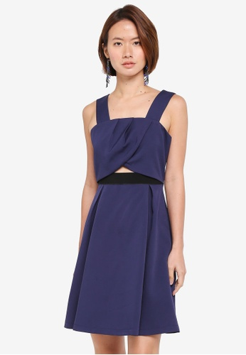 ZALORA 海軍藍色 Pleated Crop Top Dress 31374AA42666B3GS_1