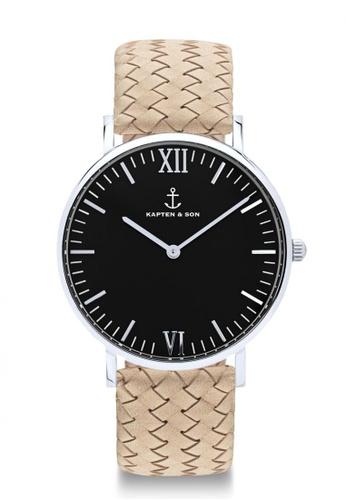 """Kapten & Son beige Campus Silver """"Black Sand Woven Leather"""" D9D15ACC7E602AGS_1"""