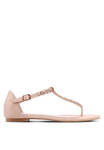 Velvet pink Embellished T- Bar Strap Sandals 872B9SH463F570GS_1