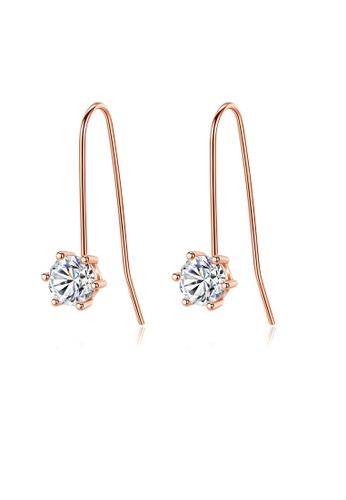 SUNRAIS High quality Silver S925 rose gold hexagonal earrings 17112AC1407DF9GS_1