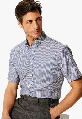 MARKS & SPENCER navy Tailored Fit Short Sleeve Oxford Shirt 0EBEDAA0E70F6BGS_1