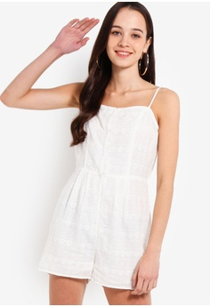 ddf3a864c8951 Something Borrowed white Cotton Embroidered Cami Playsuit 2F0FDAA3F9A8F0GS 1