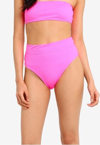 Cotton On Body pink Tia Rib Banded Highwaist Cheeky Bikini Bottom E4FE4US6F1BC47GS_1