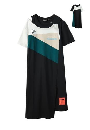 FILA black FILA x Maison MIHARA YASUHIRO Logo Color Blocks Cut-off Shoulder Asymmetric Cotton Dress EE203AAD04FE86GS_1