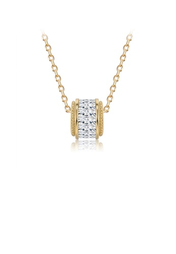 Glamorousky white 925 Sterling Silver Simple Plated Gold Geometric Column Pendant with Cubic Zircon and Necklace 902C4AC58D4947GS_1