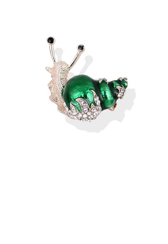 Glamorousky white Fashion and Lovely Plated Gold Green Snail Brooch with Cubic Zirconia 900E5AC3D6F1A2GS_1