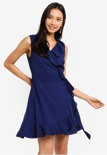ZALORA navy Ruffles Wrap Dress 3772AAA31840D7GS_1
