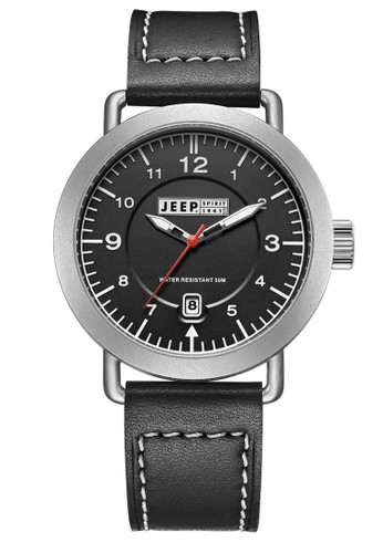 Jeep Spirit Mutifunction Men's Watch JPS50302 Black Silver Black Leather
