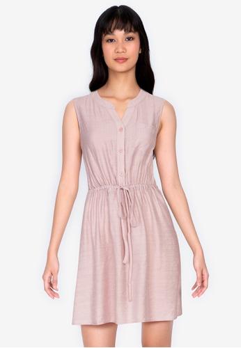 ZALORA BASICS 粉紅色 抽繩無袖洋裝 5D1A5AA68F128DGS_1