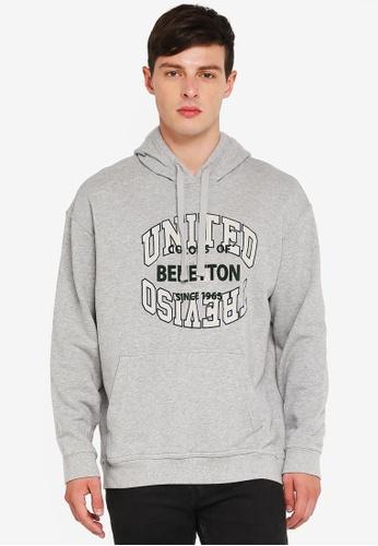 United Colors of Benetton 灰色 美式學院風大學連帽T 0A7B1AAFB1AFAAGS_1