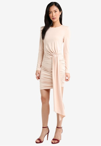 MISSGUIDED pink Peace + Love Jersey Long Sleeve Ruched Mini Dress 23245AAD29361FGS_1