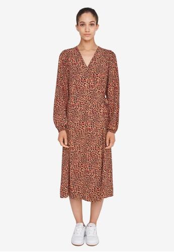 Noisy May brown Nika Midi Wrap Dress D7895AAB264762GS_1
