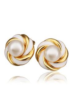18k Gold Plated Swirl Pearl Earrings