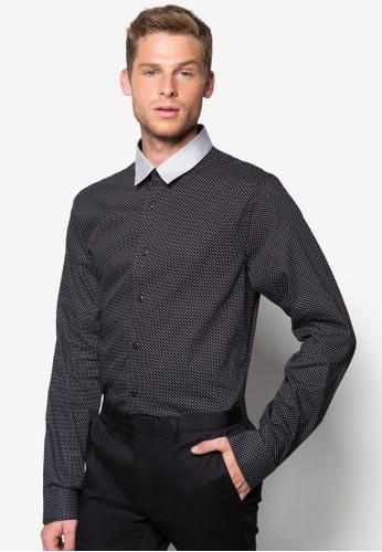 撞色領點點長袖襯衫, 服飾zalora 衣服尺寸, 襯衫