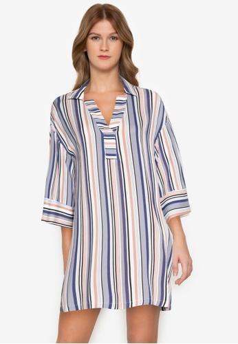 ZALORA BASICS multi Striped Shirt Dress 01ECDAAF35B592GS_1