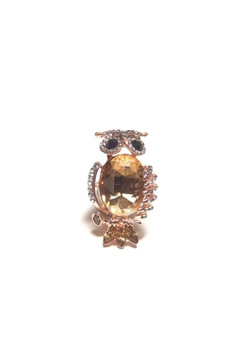 Loveaisyah yellow Amber Owl Brooch free Black Velvet Tie 15BC3AC7FDCCD0GS_1