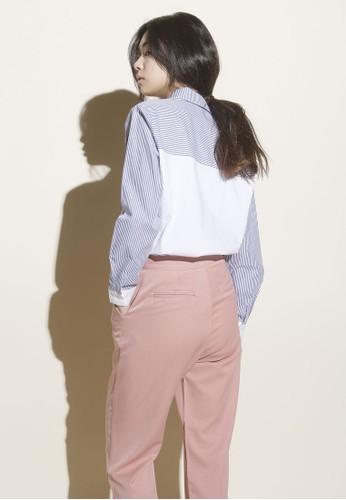 韓系時尚條紋品色牛津襯esprit 羽絨外套衫, 服飾, 上衣