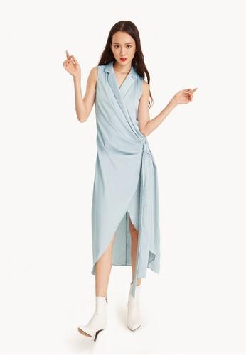 Pomelo blue Clarisse Maxi Satin Wrap Dress 699ACAA425604FGS_1