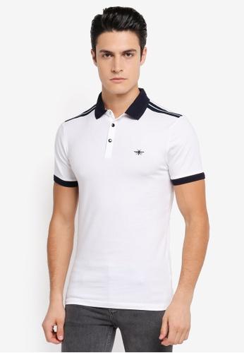River Island white White Muscle Fit Polo Shirt RI009AA0SRKRMY_1