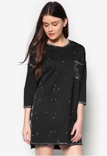 zalora 衣服尺寸印花七分袖連身裙, 服飾, 短洋裝