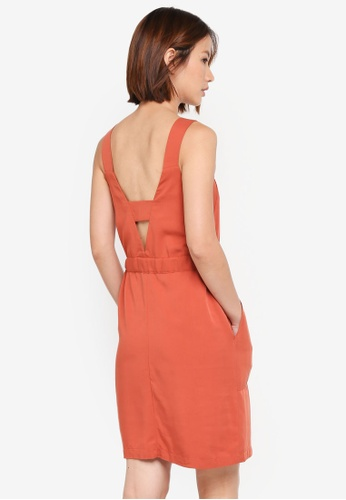 WAREHOUSE orange Zip Front Utility Dress 38108AA98A8B2BGS_1