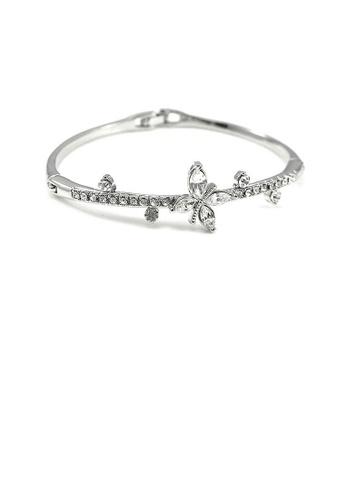 Glamorousky silver Elegant Bangle with Silver Austrian Element Crystal 7E332AC2C1B1EAGS_1