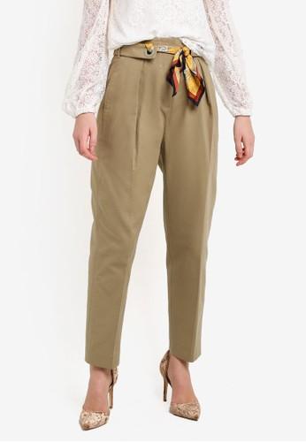 Mango beige Scarf Belt Trousers MA533AA0UF0FID_1