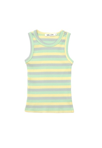 MELON grey and yellow and green and blue COTTON RIBBED TANK TOP, MINT GREEN 96E26KA2162425GS_1