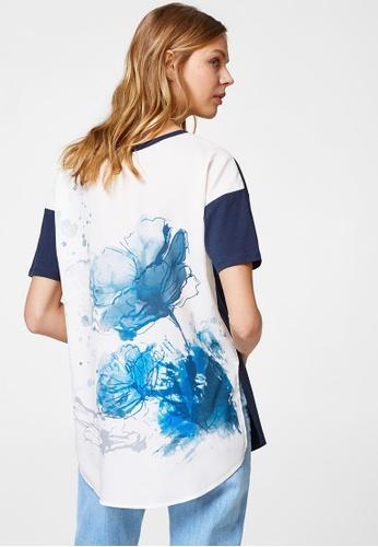 ESPRIT blue and navy Short Sleeve T-Shirt F0E2AAADBCB393GS_1