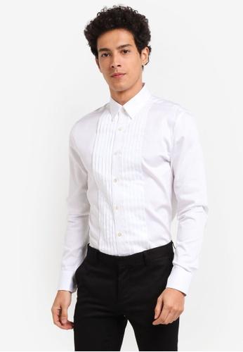 Topman white Long Sleeve Cotton Shirt F575FAAAC86986GS_1