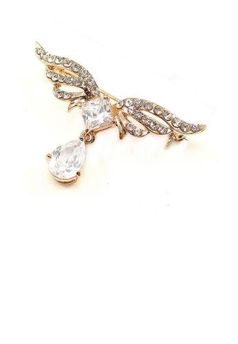 Glamorousky silver Elegant Wing Brooch with Silver Austrian Element Crystal DA161AC8C610F0GS_1