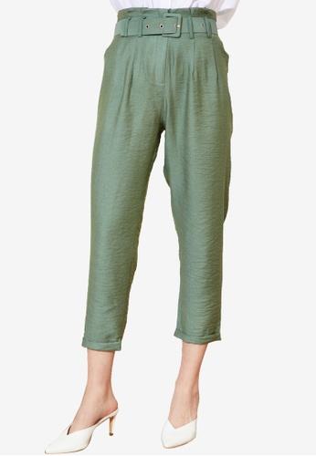 Trendyol 綠色 腰帶Paperbag 長褲 F1C98AADB326EBGS_1