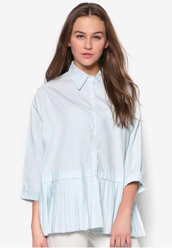 褶飾下擺長袖襯衫, 服飾, zalora 台灣門市服飾