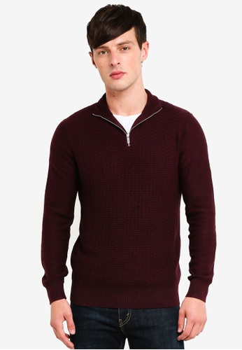 Burton Menswear London 紅色 高領拉鍊針織衫 4235CAACCF4A82GS_1