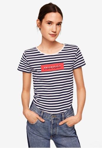 Mango blue and navy Logo Cotton T-Shirt 31469AA920A881GS_1